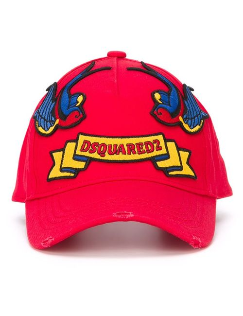 Dsquared2 | Мужское Красный Embroidered Patch Cap