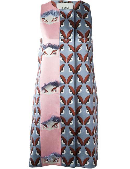 Fendi | Женское Серое Платье Шифт Bag Bugs