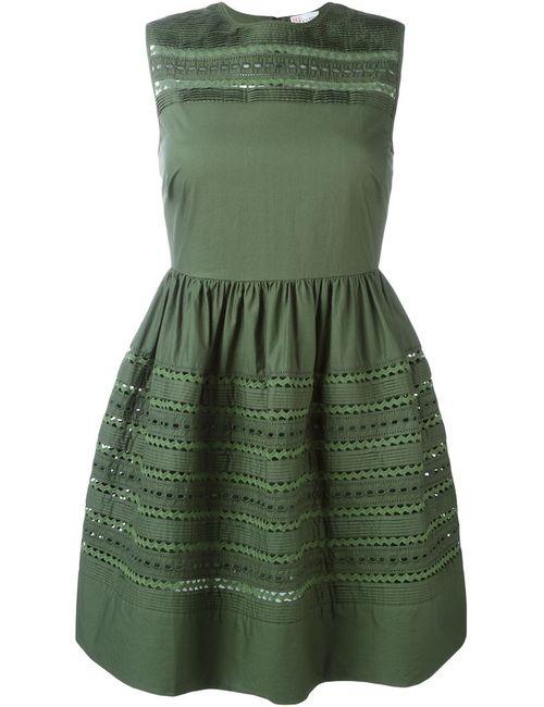 Red Valentino | Женское Зелёное Платье С Вышивкой