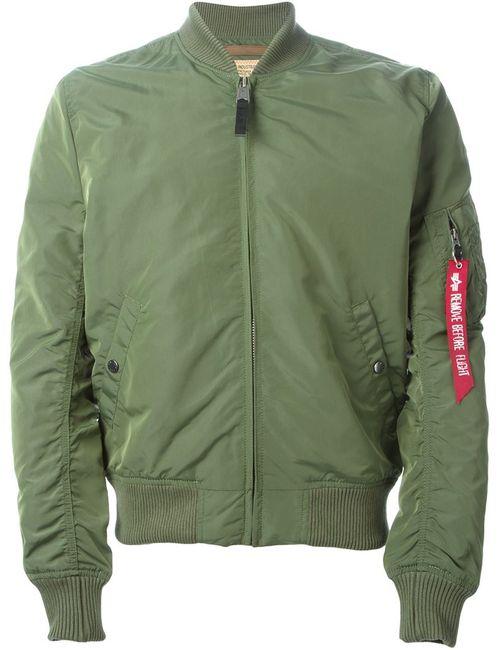 Alpha Industries | Мужская Зелёная Классическая Куртка-Бомбер