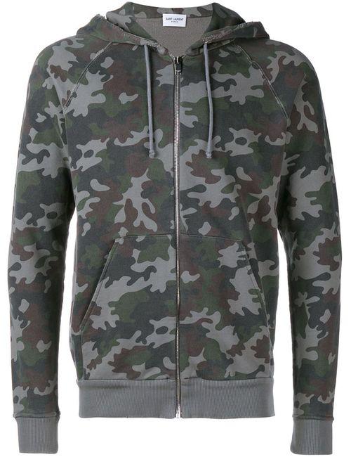 Saint Laurent | Мужское Черный Camouflage Zip-Up Hoodie