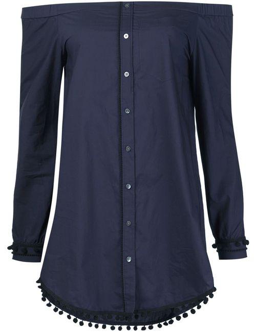 Derek Lam 10 Crosby | Женская Синяя Рубашка С Открытыми Плечами