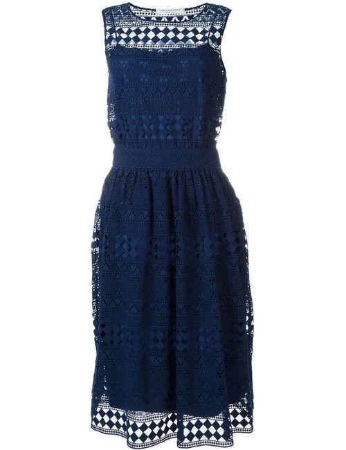 Philosophy di Lorenzo Serafini | Женское Синее Кружевное Платье Миди С Вышивкой