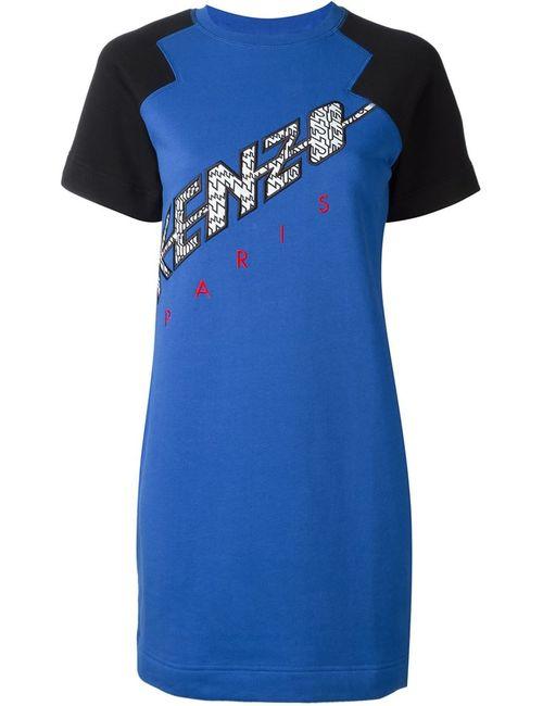 Kenzo | Женское Синее Платье-Толстовка С Контрастными Рукавами