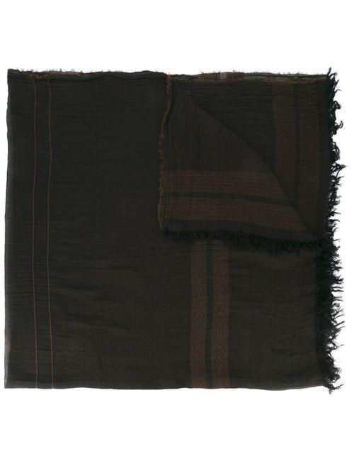 UMA WANG   Мужское Чёрный Trim Pattern Frayed Scarf