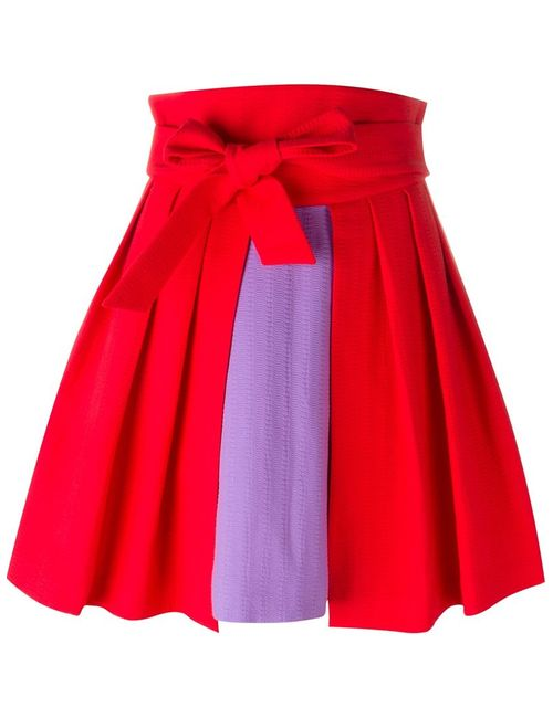 Olympia Le-Tan | Женское Красный High Waist Colour Block Pleated Full Skirt