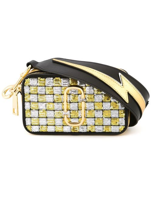 Marc Jacobs | Женское Чёрный Small Snapshot Sequins Checker Crossbody Bag