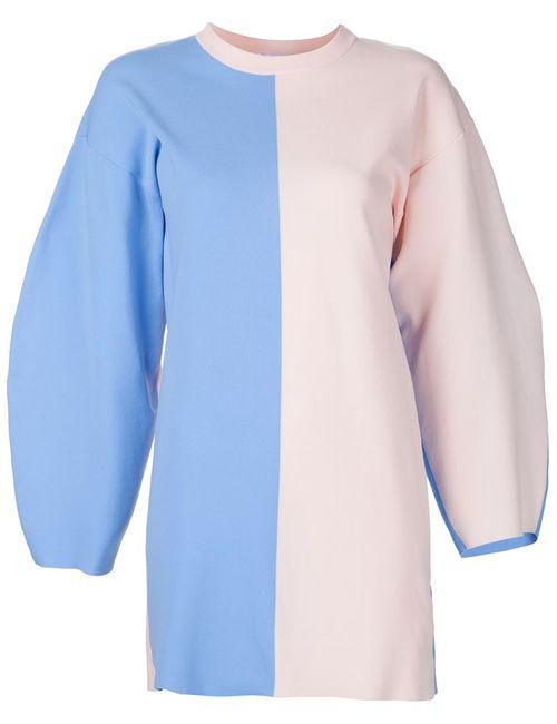 Arthur Arbesser | Женское Синее Платье С Закругленными Широкими Рукавами