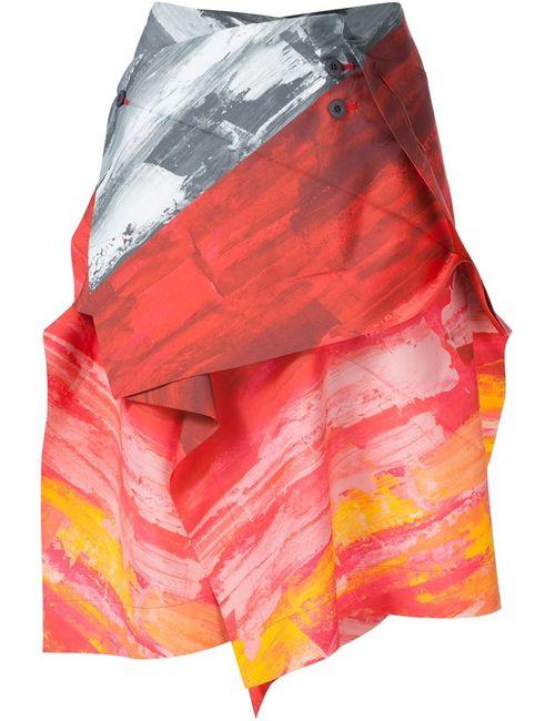 Issey Miyake | Женское Красный Colour Block Wrap Tie Asymmetric Shirt