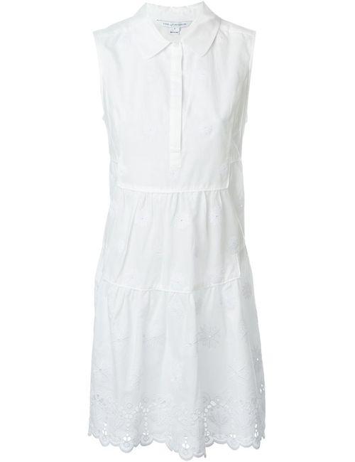 Diane Von Furstenberg   Женское Белое Расклешенное Платье-Рубашка