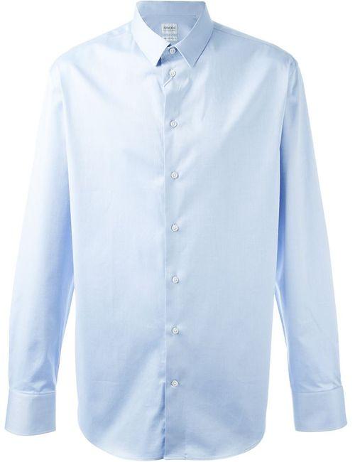 Armani Collezioni | Мужская Синяя Классическая Рубашка На Пуговицах