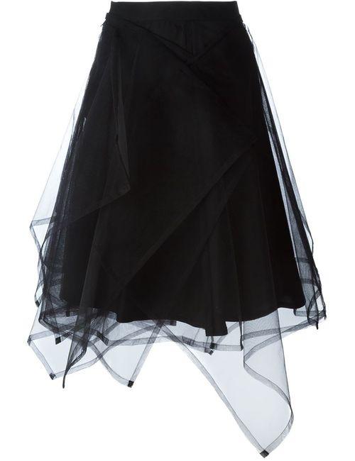 Comme Des Garçons Noir Kei Ninomiya | Женская Черный Асимметричная Тюлевая Юбка