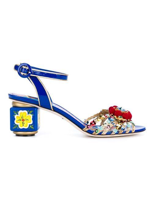 Dolce & Gabbana | Женские Синие Декорированные Босоножки