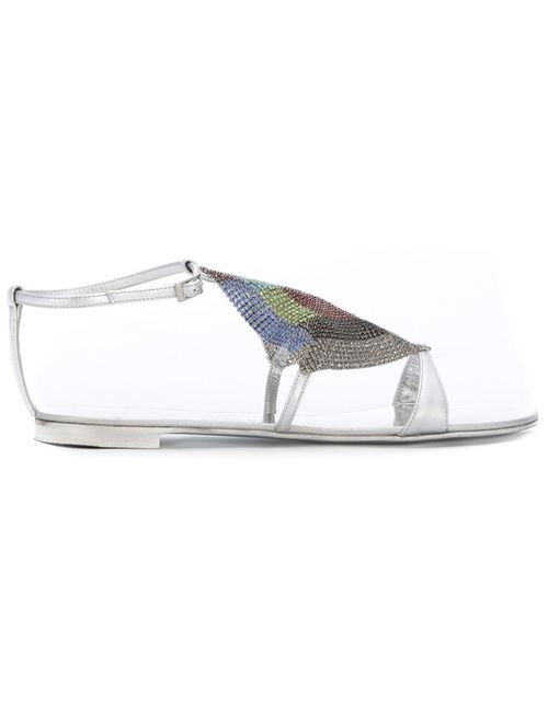 Giuseppe Zanotti Design   Женские Серебристые Декорированные Сандалии