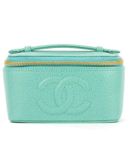 Chanel Vintage | Женский Зелёный Чемоданчик Для Косметики С Логотипом