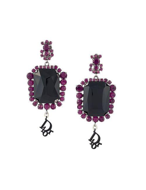 Christian Dior Vintage | Женское Черный Défilé Crystal Clip-On Earrings