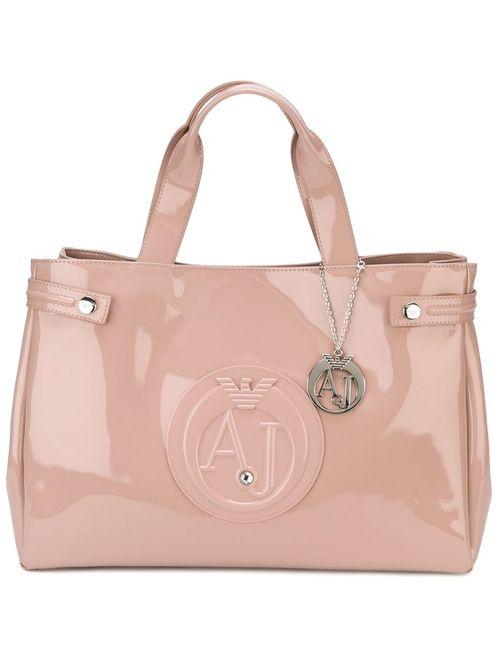 ARMANI JEANS | Женская Розовая Большая Сумка-Шопер С Логотипом
