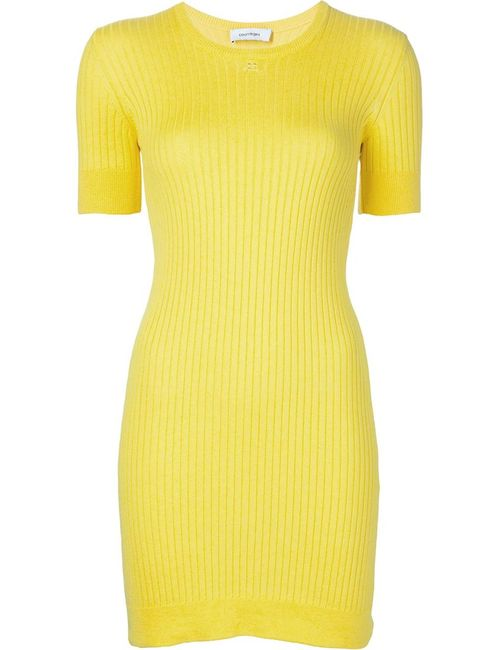 Courreges | Женское Желтый Ribbed Knit Mini Dress