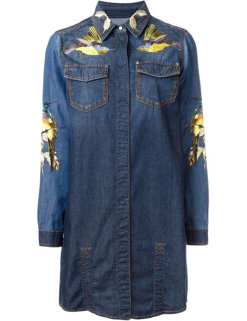 Roberto Cavalli | Женское Синее Джинсовое Платье С Вышивкой
