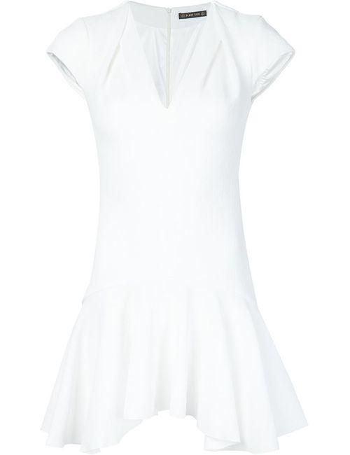 Plein Sud   Женское Белое Платье С Гофрированным Подолом