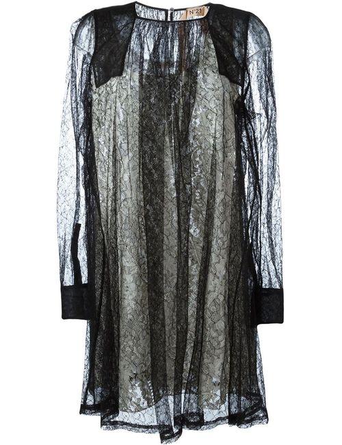 No21 | Женское Чёрное Кружевное Платье С Длинными Рукавами