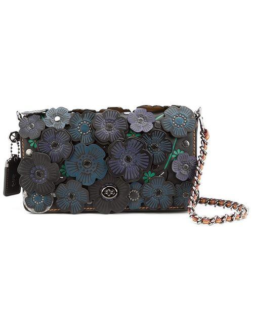 COACH | Женское Синий Print Dinky Applique Flap Closure Shoulder Bag