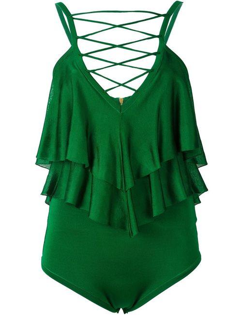 Balmain | Женское Зелёный Ruffled Body Suit