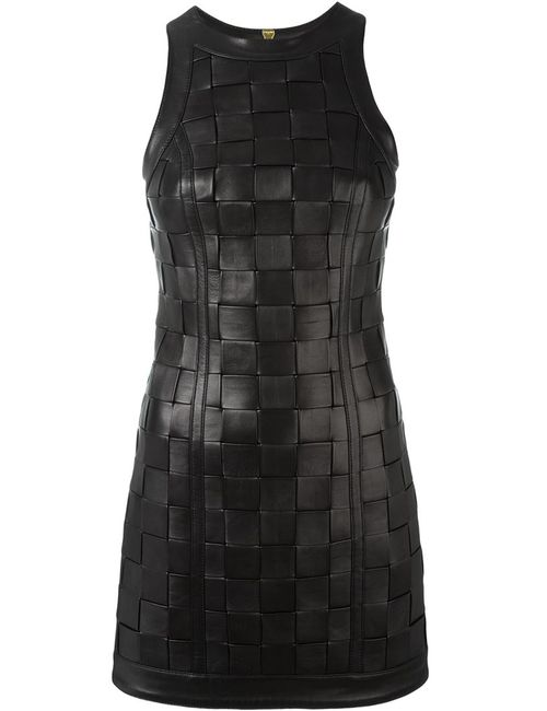 Balmain | Женское Чёрное Плетеное Мини-Платье