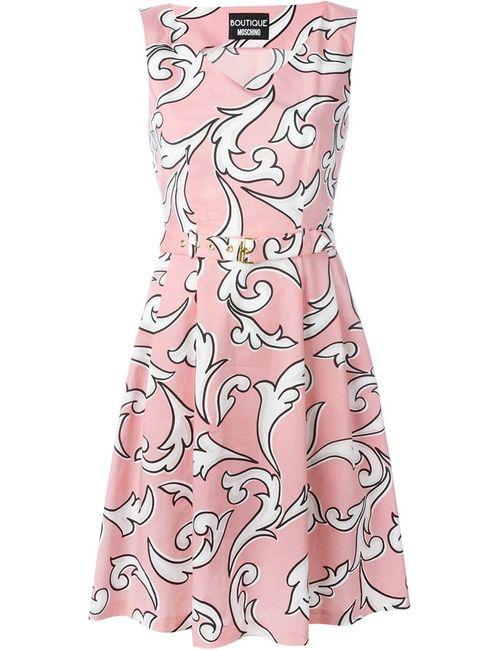 BOUTIQUE MOSCHINO | Женское Розовый Arabesque Print Belted Dress