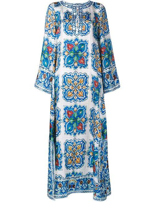 Dolce & Gabbana | Женское Синий Maiolica Print Silk-Twill Kaftan Dress