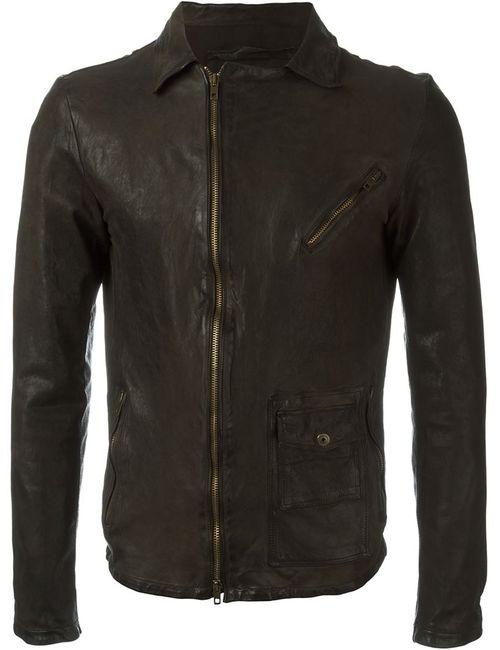 SALVATORE SANTORO | Мужская Коричневая Куртка Со Смещенной Застежкой-Молнией