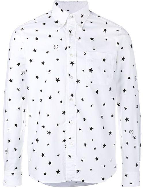 UNIFORM EXPERIMENT | Мужская Белая Рубашка С Принтом Звезд