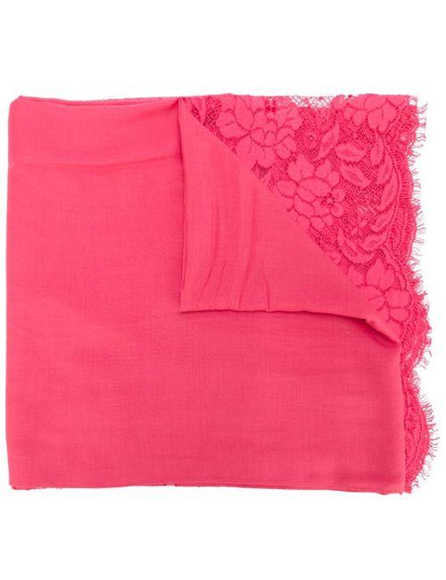 Valentino | Женский Розовый Шарф С Кружевными Панелями
