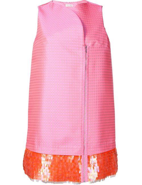 Delpozo | Женское Розовое Платье С Пайетками На Подоле