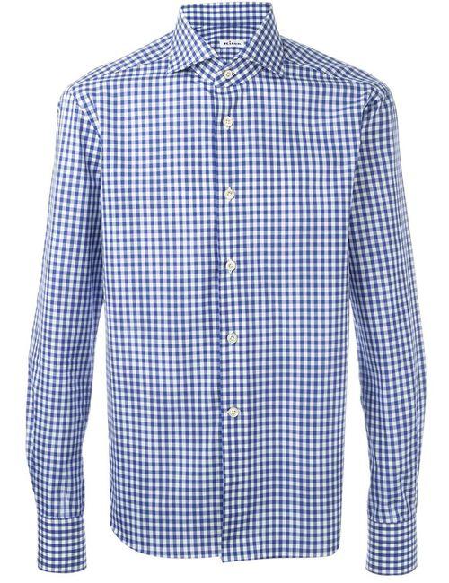 Kiton   Мужское Синий Gingham Check Shirt