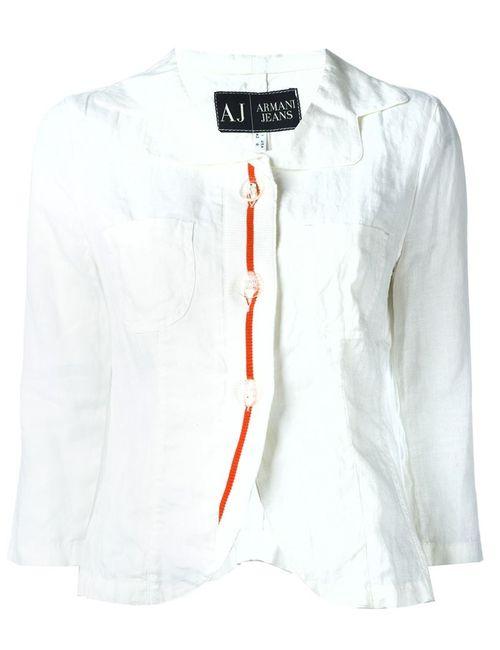 ARMANI JEANS | Женская Белая Блузка С Вышивкой