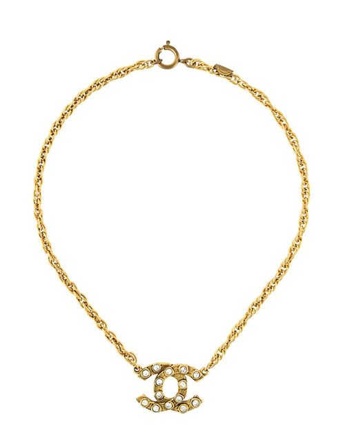 Chanel Vintage | Женское Серебристый Crystal Logo Pendant Necklace