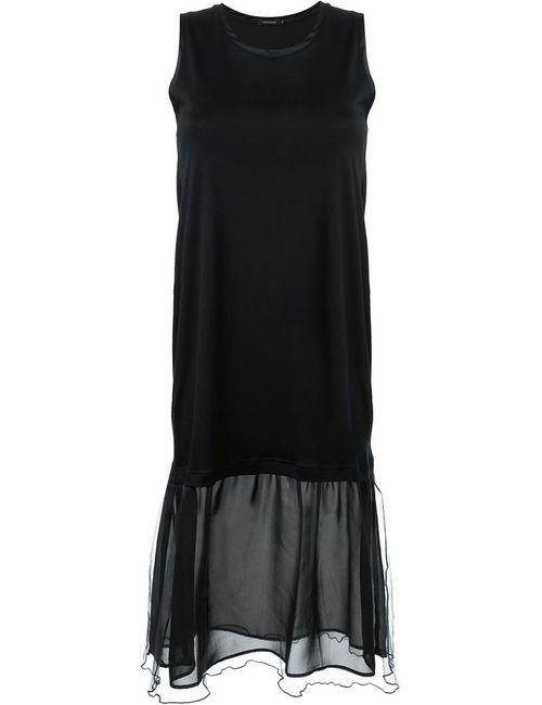 LOVELESS | Женское Чёрное Платье С Волнистой Отделкой