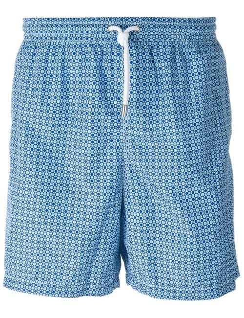 Kiton   Мужские Синие Шорты Для Плавания С Принтом