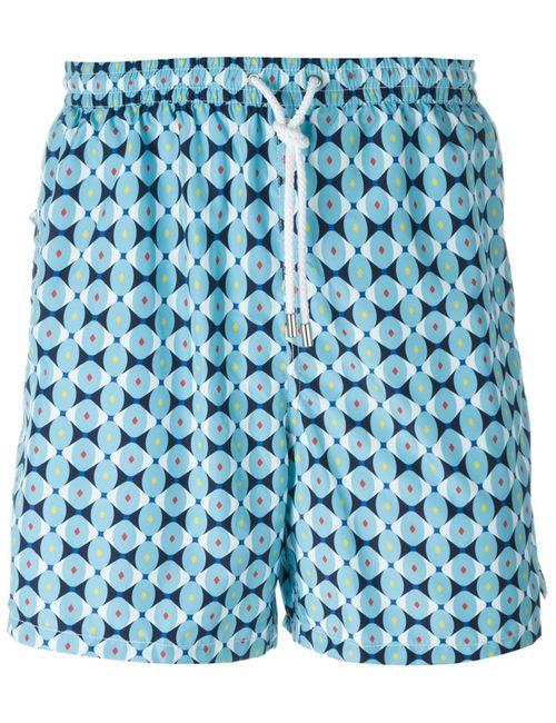 Kiton | Мужские Синие Шорты Для Плавания С Геометрическим Принтом