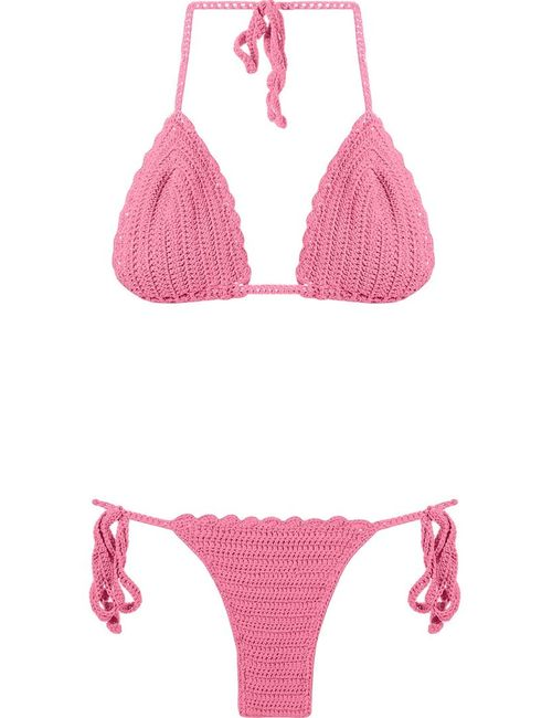 SKINBIQUINI   Женское Розовый Pattern Knit Triangle Bikini Set