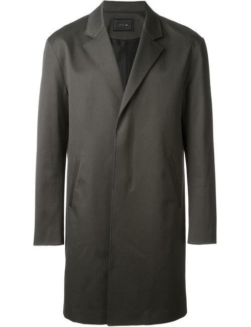 SYSTEM HOMME | Мужское Зелёное Пальто На Потайной Застежке
