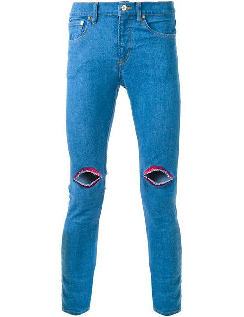 DRESS CAMP | Мужские Синие Джинсы Кроя Скинни С Вышивкой