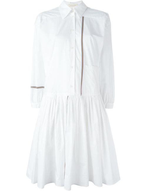 Wunderkind | Женское Белое Платье-Рубашка С Контрастными Полосками