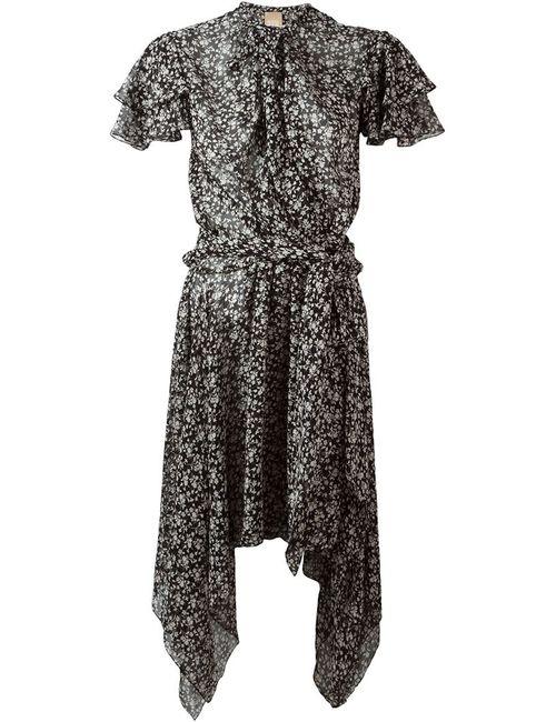 Pascal Millet | Женское Чёрное Асимметричное Платье С Цветочным Принтом
