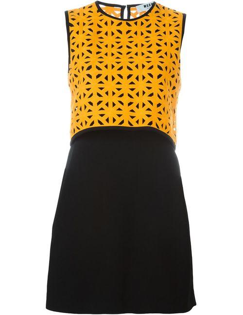 MSGM   Женское Чёрное Платье С Геометрическим Узором