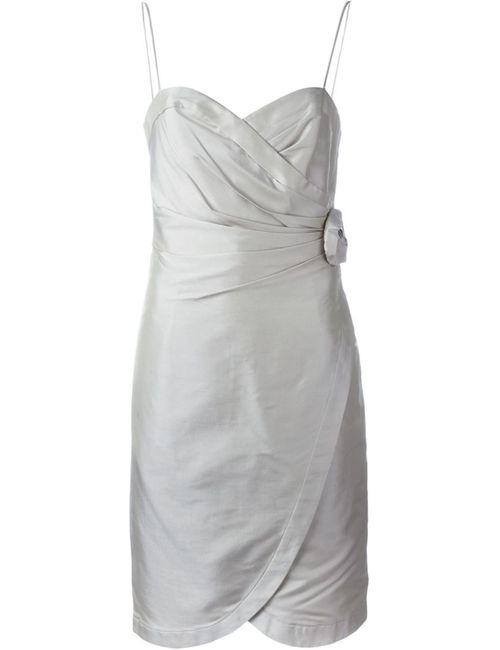 Armani Collezioni | Женское Серое Декорированное Платье С Аппликацией Розы