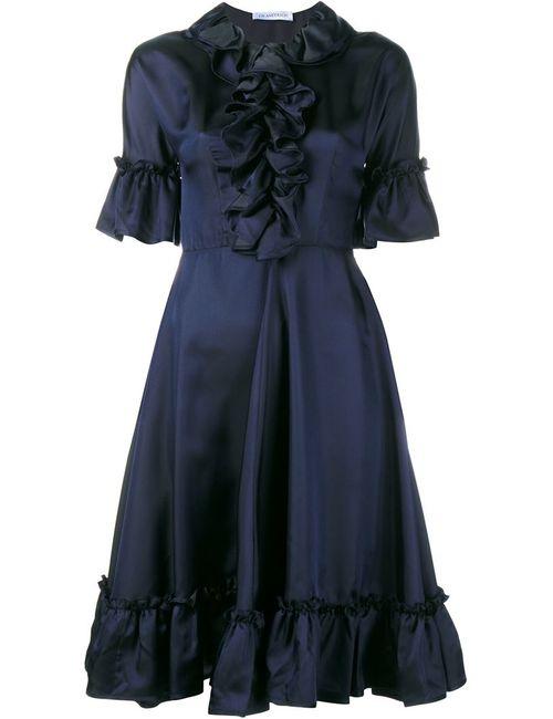 J.W. Anderson | Женское Черный Ruffle Silk-Blend Short Sleeve Dress