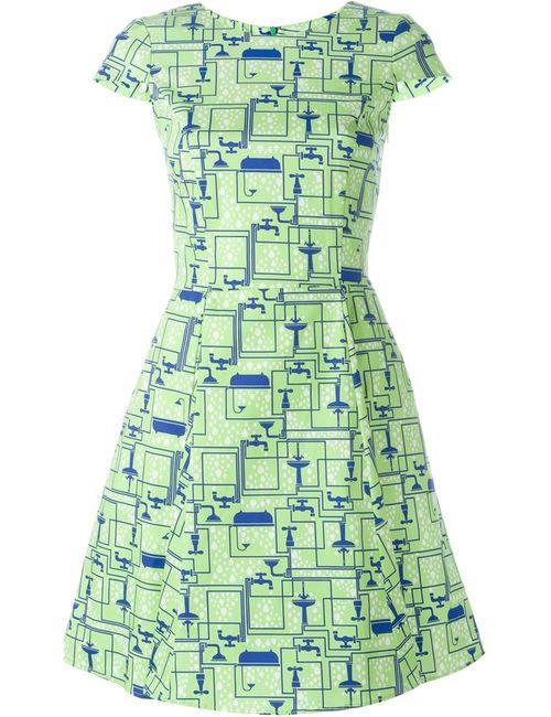 Ultràchic | Женское Зелёное Платье С Принтом