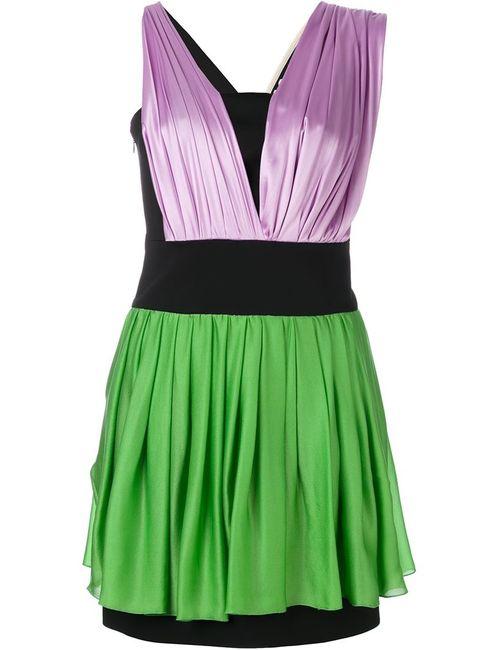 Fausto Puglisi | Женское Зелёное Платье Колор-Блок